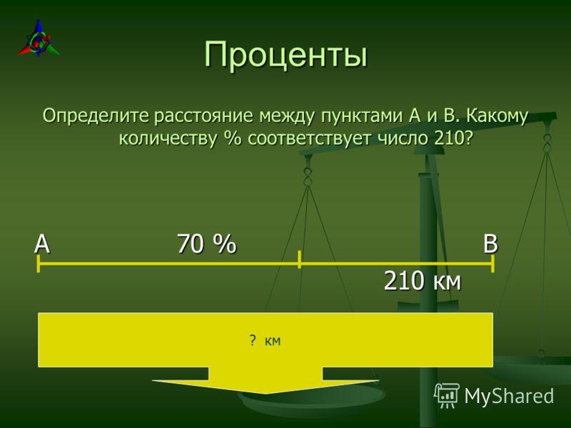 Проценты Определите расстояние между пунктами А и В. Какому количеству % соответствует число 210? А 70 % В 210 км 210 км ? км