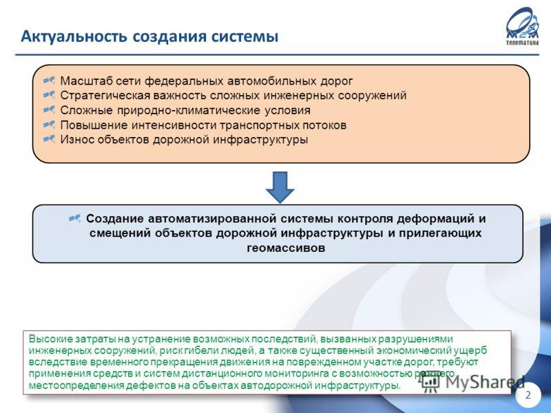 ! Для внутреннего использования в ООО «М2М телематика» ! 2 Актуальность создания системы Создание автоматизированной системы контроля деформаций и смещений объектов дорожной инфраструктуры и прилегающих геомассивов Масштаб сети федеральных автомобиль
