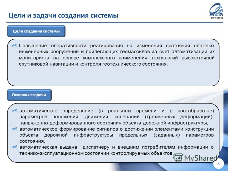 ! Для внутреннего использования в ООО «М2М телематика» ! 3 Цели и задачи создания системы Основные задачи автоматическое определение (в реальном времени и в постобработке) параметров положения, движения, колебаний (трехмерных деформаций), напряженно-