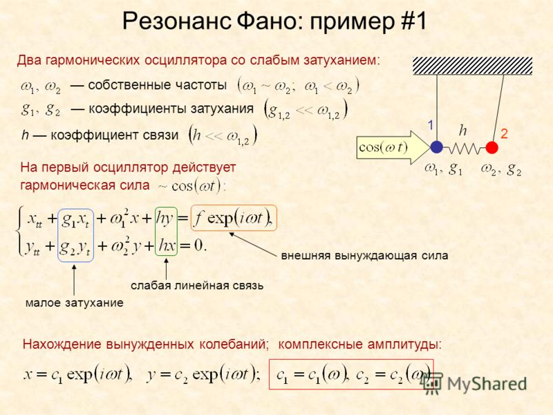 Резонанс Фано: пример #1 Два гармонических осциллятора со слабым затуханием: собственные частоты коэффициенты затухания h коэффициент связи На первый осциллятор действует гармоническая сила слабая линейная связь малое затухание внешняя вынуждающая си
