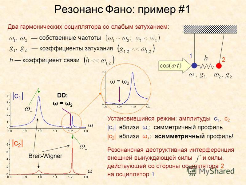 Резонанс Фано: пример #1 Два гармонических осциллятора со слабым затуханием: собственные частоты коэффициенты затухания h коэффициент связи |c 1 | |c 2 | Установившийся режим: амплитуды с 1, с 2 |с 1 | вблизи ω - : симметричный профиль |с 2 | вблизи