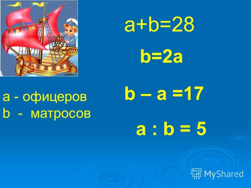 a - офицеров b - матросов a+b=28 b=2a b – a =17 a : b = 5