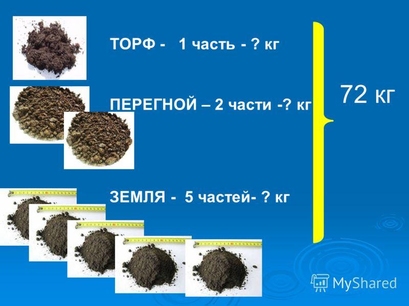 nТОРФ - 1 часть - ? кг ПЕРЕГНОЙ – 2 части -? кг ЗЕМЛЯ - 5 частей- ? кг 72 кг