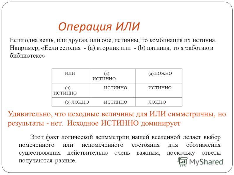 Операция ИЛИ ИЛИ(а) ИСТИННО (a) ЛОЖНО (b) ИСТИННО ИСТИННО (b) ЛОЖНОИСТИННОЛОЖНО Если одна вещь, или другая, или обе, истинны, то комбинация их истинна. Например, «Если сегодня - (а) вторник или - (b) пятница, то я работаю в библиотеке» Удивительно, ч