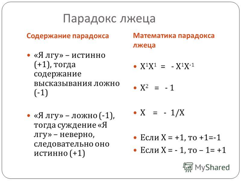 Парадокс лжеца Содержание парадокса Математика парадокса лжеца « Я лгу » – истинно (+1), тогда содержание высказывания ложно (-1) « Я лгу » – ложно (-1), тогда суждение « Я лгу » – неверно, следовательно оно истинно (+1) Х 1 Х 1 = - Х 1 Х -1 Х 2 = -