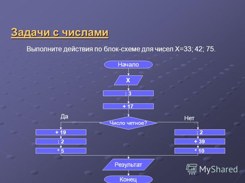 Задачи с числами Выполните действия по блок-схеме для чисел Х=33; 42; 75. Начало Конец Х : 3 + 17 Число четное? : 2 + 39 * 10 + 19 : 2 * 5 Результат Да Нет