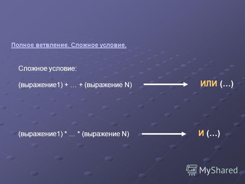 Полное ветвление. Сложное условие. Сложное условие: (выражение1) + … + (выражение N) (выражение1) * … * (выражение N) ИЛИ (…) И (…)