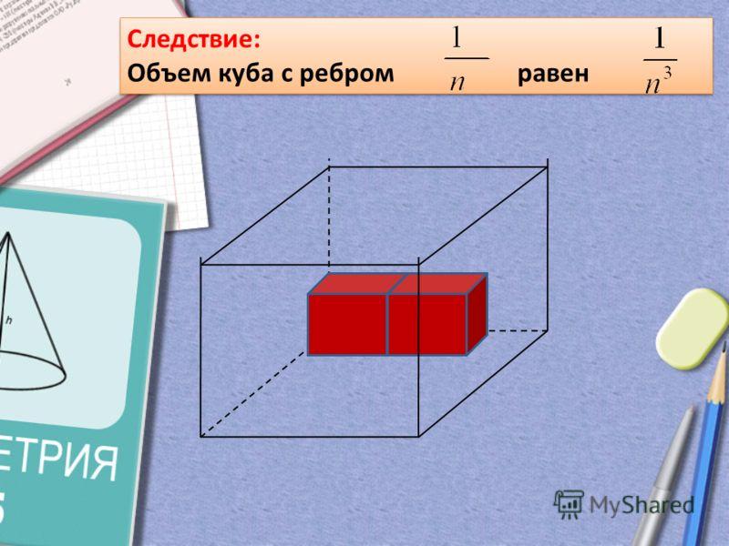 Следствие: Объем куба с ребром равен Следствие: Объем куба с ребром равен