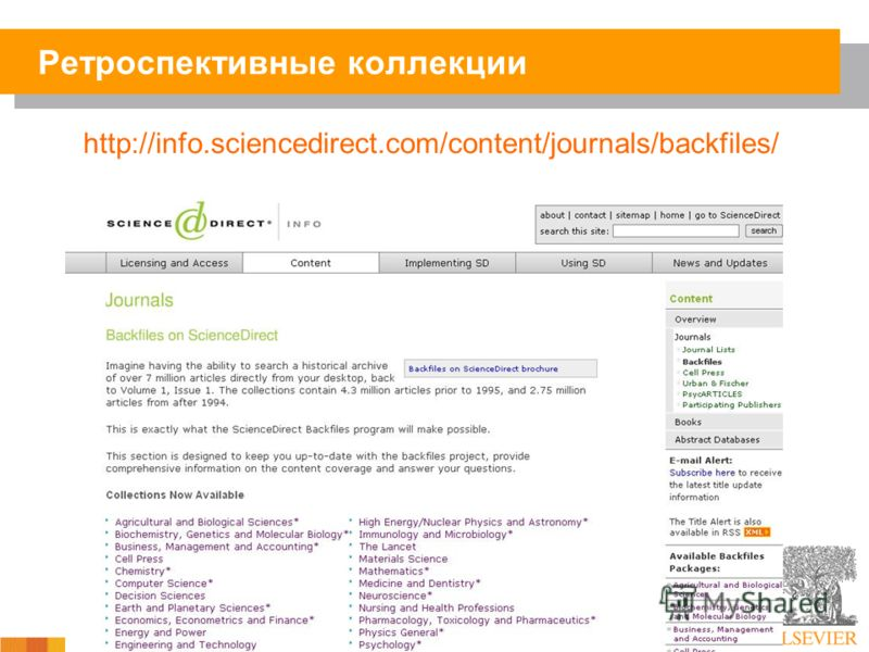 http://info.sciencedirect.com/content/journals/backfiles/ Ретроспективные коллекции