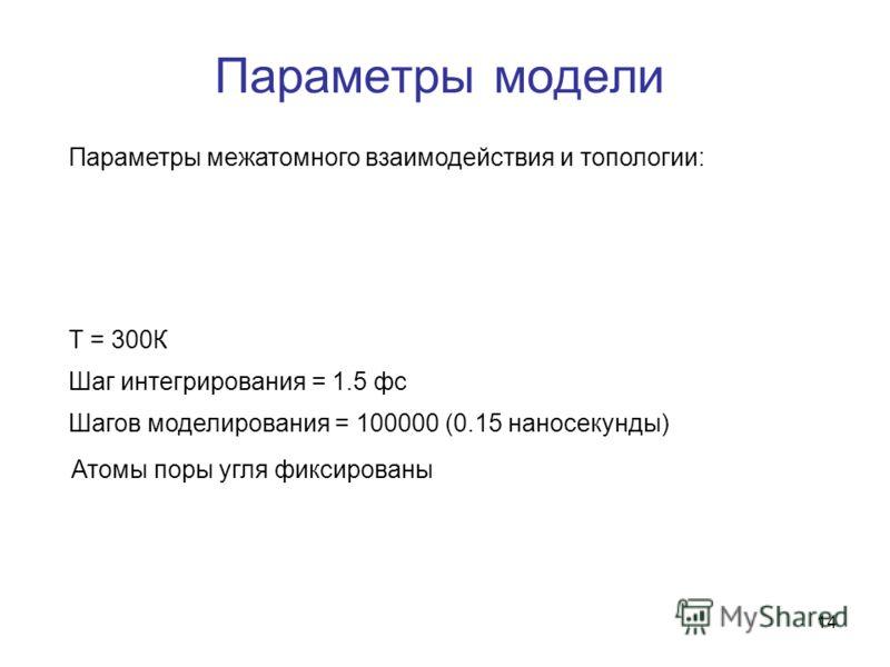 14 Параметры модели Параметры межатомного взаимодействия и топологии: T = 300К Шаг интегрирования = 1.5 фс Шагов моделирования = 100000 (0.15 наносекунды) Атомы поры угля фиксированы
