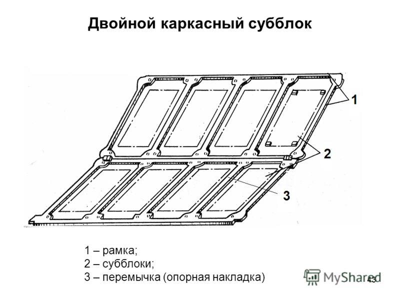 43 Двойной каркасный субблок 1 – рамка; 2 – субблоки; 3 – перемычка (опорная накладка)