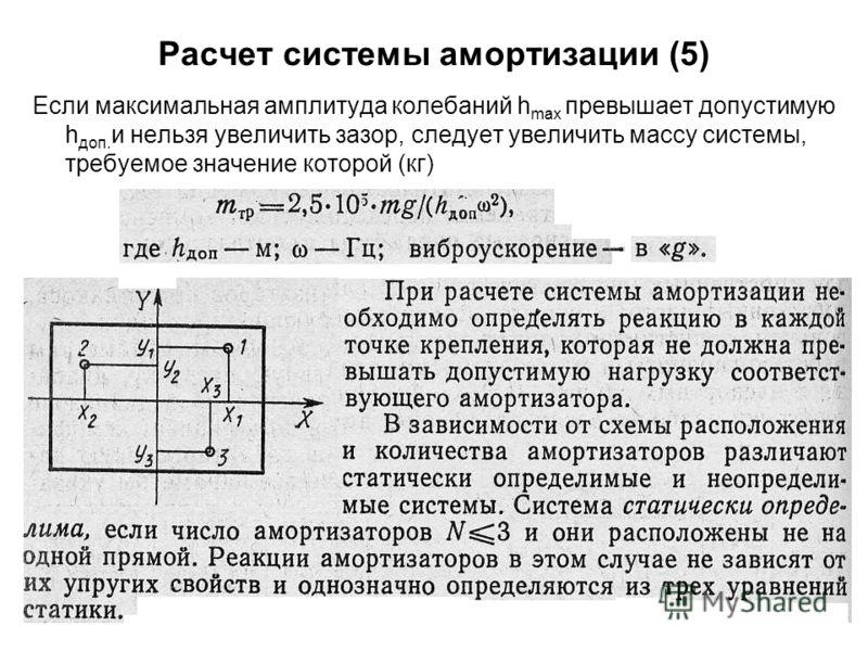 53 Расчет системы амортизации (5) Если максимальная амплитуда колебаний h max превышает допустимую h доп. и нельзя увеличить зазор, следует увеличить массу системы, требуемое значение которой (кг)