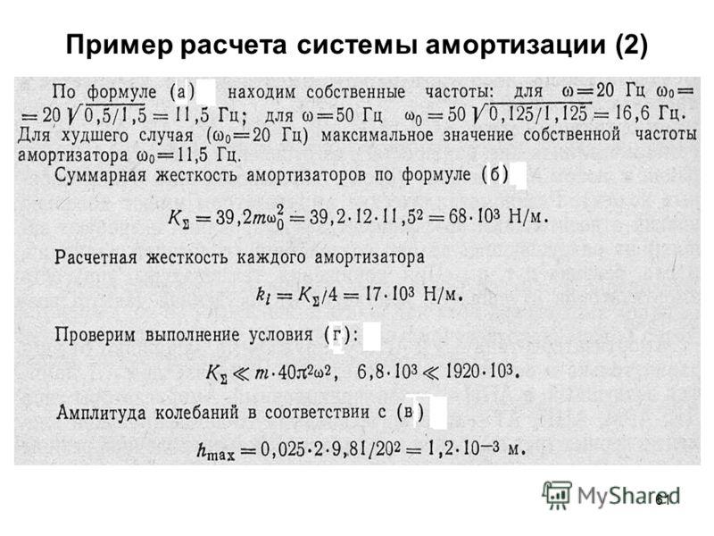 61 Пример расчета системы амортизации (2)