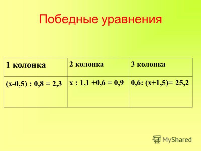 1 колонка 2 колонка3 колонка (х-0,5) : 0,8 = 2,3 х : 1,1 +0,6 = 0,90,6: (х+1,5)= 25,2 Победные уравнения