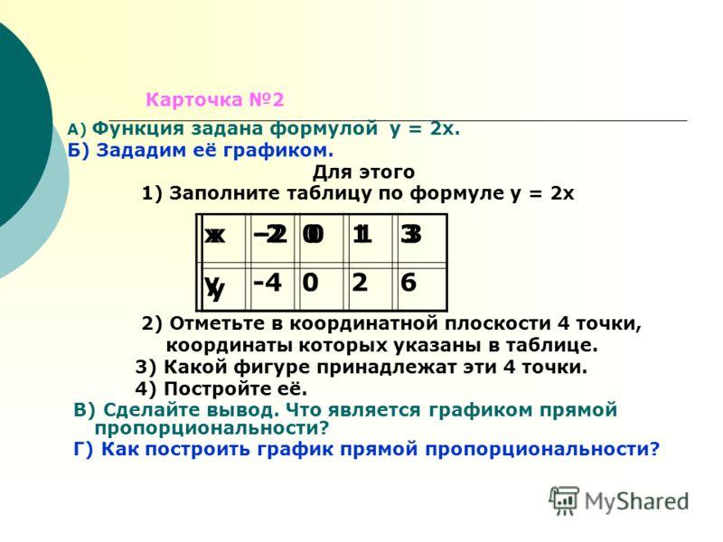 А) Функция задана формулой у = 2х. Б) Зададим её графиком. Для этого 1) Заполните таблицу по формуле у = 2х 2) Отметьте в координатной плоскости 4 точки, координаты которых указаны в таблице. 3) Какой фигуре принадлежат эти 4 точки. 4) Постройте её.
