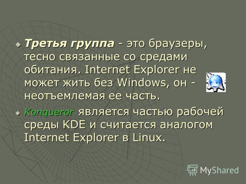 Третья группа - это браузеры, тесно связанные со средами обитания. Internet Explorer не может жить без Windows, он - неотъемлемая ее часть. Третья группа - это браузеры, тесно связанные со средами обитания. Internet Explorer не может жить без Windows