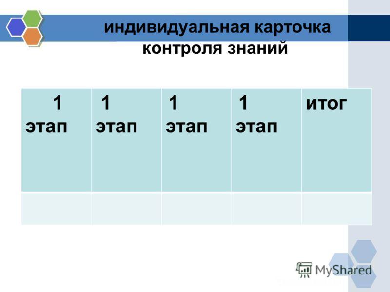 индивидуальная карточка контроля знаний 1 этап 1 этап 1 этап 1 этап итог