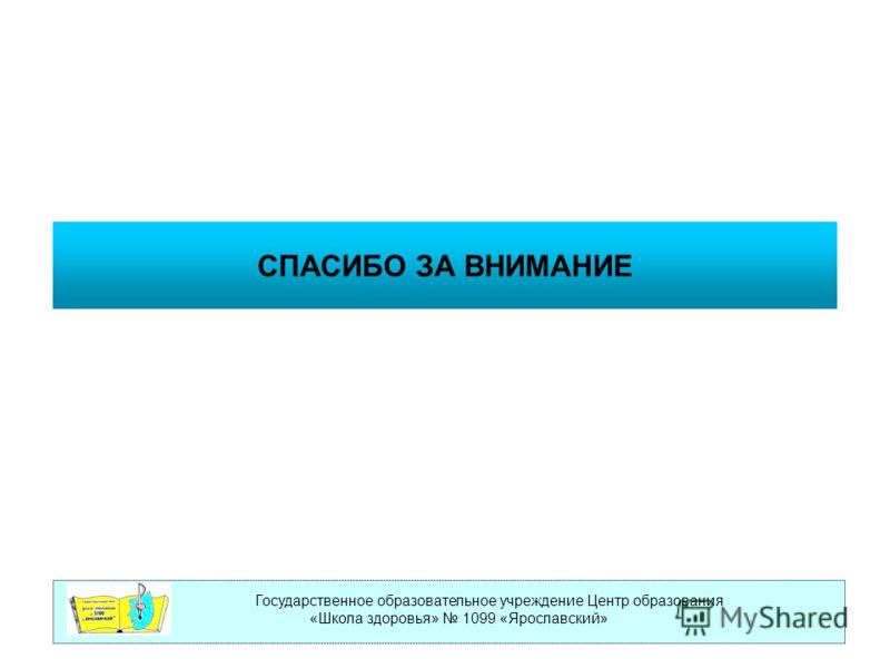 Государственное образовательное учреждение Центр образования «Школа здоровья» 1099 «Ярославский» СПАСИБО ЗА ВНИМАНИЕ
