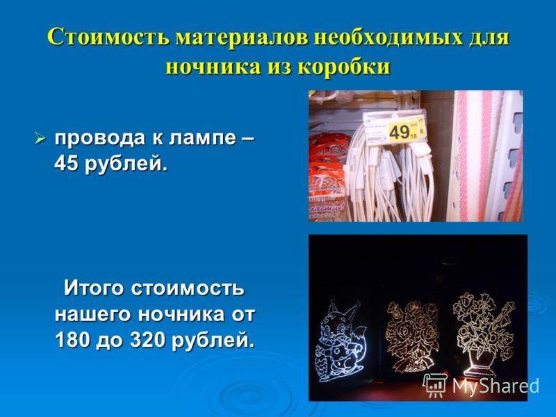Стоимость материалов необходимых для ночника из коробки провода к лампе – 45 рублей. провода к лампе – 45 рублей. Итого стоимость нашего ночника от 180 до 320 рублей. Итого стоимость нашего ночника от 180 до 320 рублей.