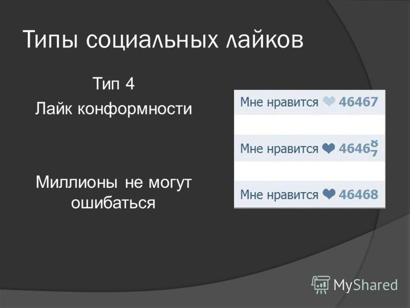 Типы социальных лайков Тип 4 Лайк конформности Миллионы не могут ошибаться