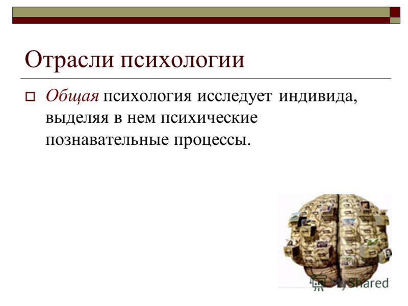 Отрасли психологии Общая психология исследует индивида, выделяя в нем психические познавательные процессы.