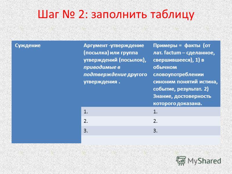 Шаг 2: заполнить таблицу СуждениеАргумент -утверждение (посылка) или группа утверждений (посылок), приводимые в подтверждение другого утверждения. Примеры = факты (от лат. factum – сделанное, свершившееся), 1) в обычном словоупотреблении синоним поня