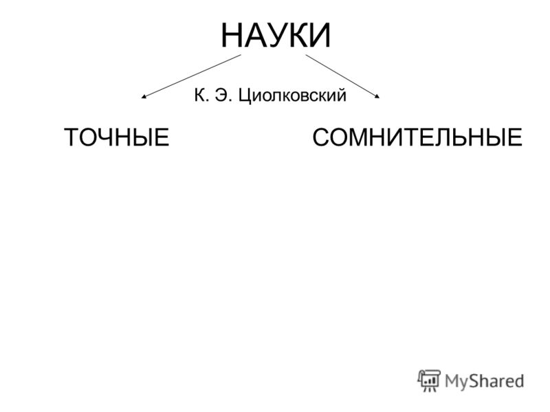 НАУКИ ТОЧНЫЕ К. Э. Циолковский СОМНИТЕЛЬНЫЕ