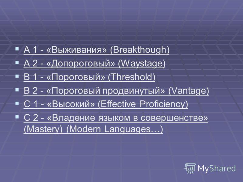 A 1 - «Выживания» (Breakthough) A 2 - «Допороговый» (Waystage) B 1 - «Пороговый» (Threshold) B 2 - «Пороговый продвинутый» (Vantage) C 1 - «Высокий» (Effective Proficiency) C 2 - «Владение языком в совершенстве» (Mastery) (Modern Languages…)
