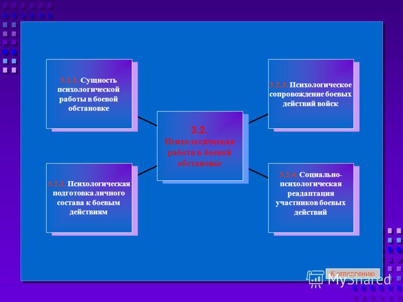 3.2.1. Сущность психологической работы в боевой обстановке 3.2.1. Сущность психологической работы в боевой обстановке 3.2.2. Психологическая подготовка личного состава к боевым действиям 3.2.2. Психологическая подготовка личного состава к боевым дейс