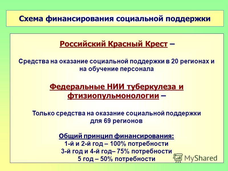 Схема финансирования социальной поддержки Российский Красный Крест – Средства на оказание социальной поддержки в 20 регионах и на обучение персонала Федеральные НИИ туберкулеза и фтизиопульмонологии – Только средства на оказание социальной поддержки