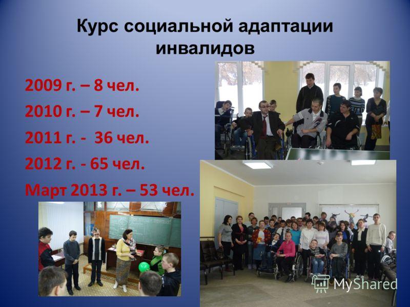 Курс социальной адаптации инвалидов 2009 г. – 8 чел. 2010 г. – 7 чел. 2011 г. - 36 чел. 2012 г. - 65 чел. Март 2013 г. – 53 чел.