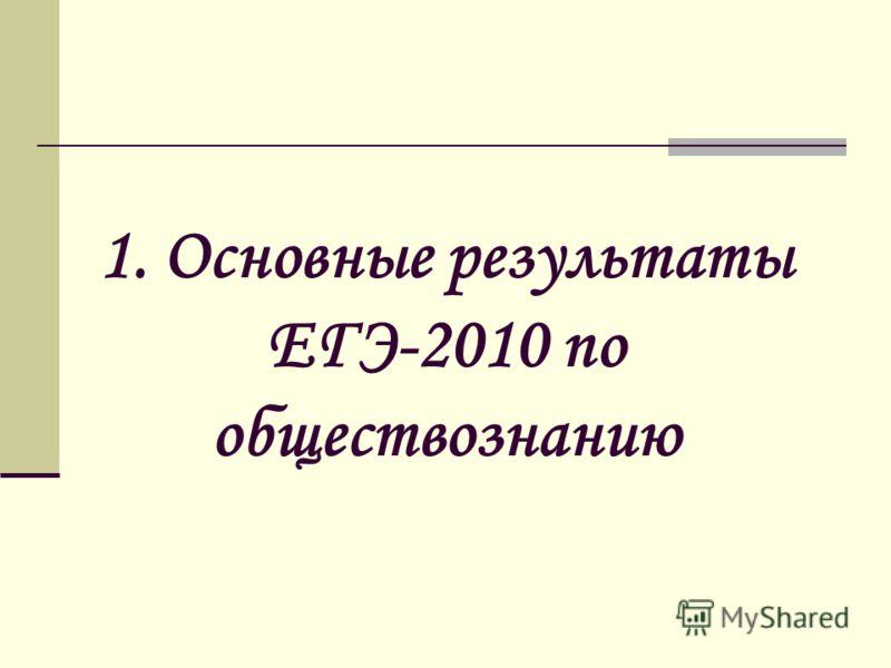 1. Основные результаты ЕГЭ-2010 по обществознанию
