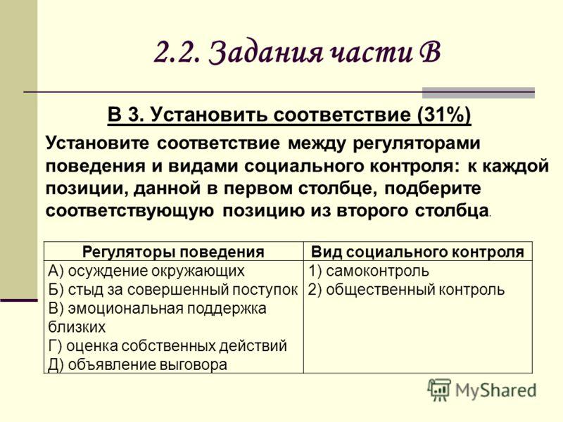 2.2. Задания части В В 3. Установить соответствие (31%) Регуляторы поведенияВид социального контроля A) осуждение окружающих Б) стыд за совершенный поступок В) эмоциональная поддержка близких Г) оценка собственных действий Д) объявление выговора 1) с
