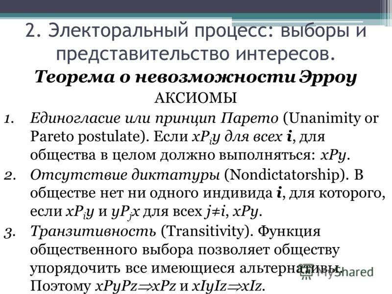 Теорема о невозможности Эрроу АКСИОМЫ 1.Единогласие или принцип Парето (Unanimity or Pareto postulate). Если xP i y для всех i, для общества в целом должно выполняться: xPy. 2.Отсутствие диктатуры (Nondictatorship). В обществе нет ни одного индивида