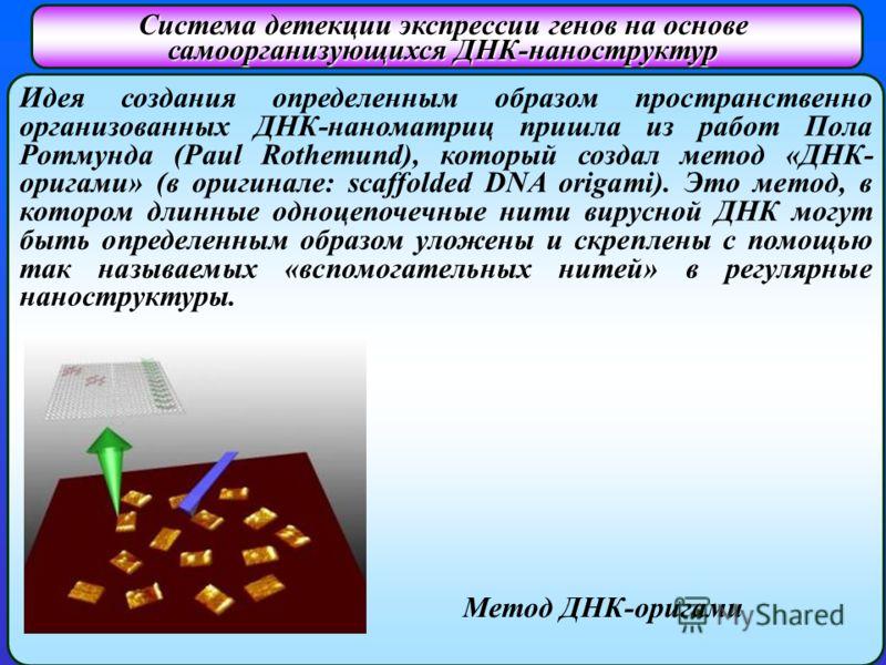 Система детекции экспрессии генов на основе самоорганизующихся ДНК-наноструктур Идея создания определенным образом пространственно организованных ДНК-наноматриц пришла из работ Пола Ротмунда (Paul Rothemund), который создал метод «ДНК- оригами» (в ор