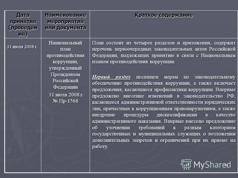 14 Дата принятия (проведен ия) Наименование мероприятия или документа Краткое содержание 31 июля 2008 г. Национальный план противодействия коррупции, утвержденный Президентом Российской Федерации 31 июля 2008 г. Пр-1568 31 июля 2008 г. Пр-1568 План с