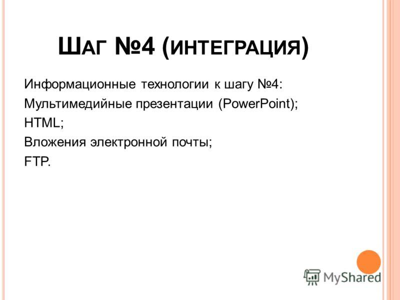 Ш АГ 4 ( ИНТЕГРАЦИЯ ) Информационные технологии к шагу 4: Мультимедийные презентации (PowerPoint); HTML; Вложения электронной почты; FTP.