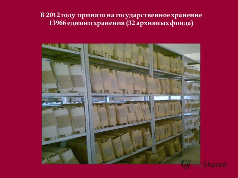 В 2012 году принято на государственное хранение 13966 единиц хранения (32 архивных фонда)