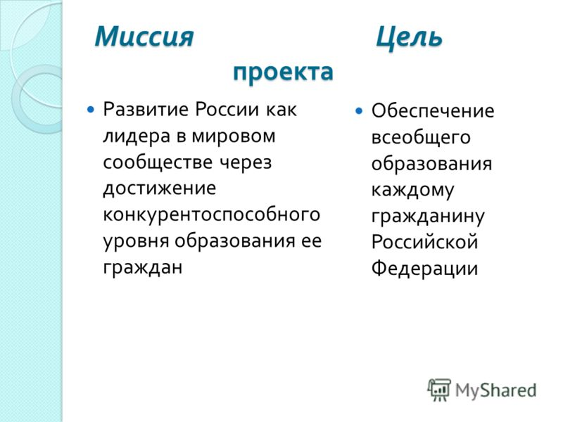 Миссия Цель проекта Развитие России как лидера в мировом сообществе через достижение конкурентоспособного уровня образования ее граждан Обеспечение всеобщего образования каждому гражданину Российской Федерации