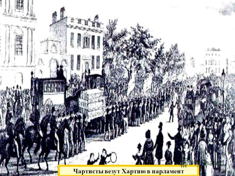 Чартизм. 1836 г. – основание Лондонской ассоциации рабочих. 1838 г. – «Народная хартия» - проект введения всеобщего избирательного права для мужчин. 1 петиция – 1.280 тыс. подписей 2 петиция – 3.300 тыс. подписей 3 петиция – 5,5 млн. подписей Чартист