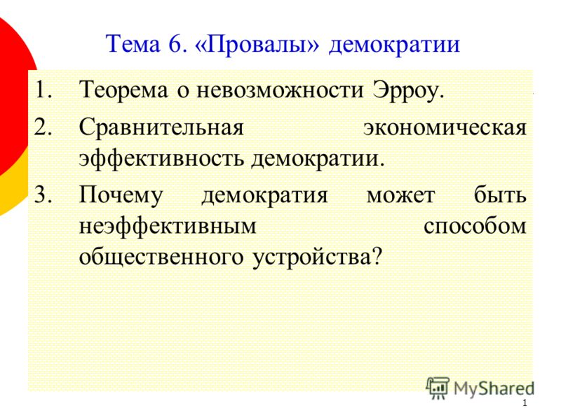1 Тема 6. «Провалы» демократии 1.Теорема о невозможности Эрроу. 2.Сравнительная экономическая эффективность демократии. 3.Почему демократия может быть неэффективным способом общественного устройства?