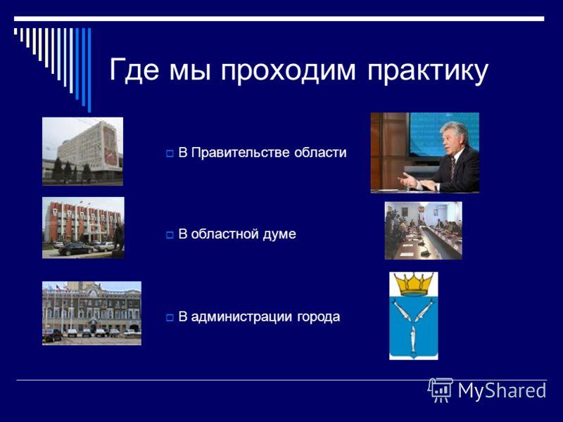 Где мы проходим практику В администрации города В Правительстве области В областной думе