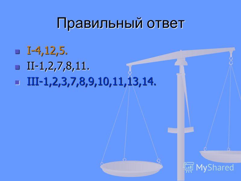 Правильный ответ I-4,12,5. I-4,12,5. II-1,2,7,8,11. II-1,2,7,8,11. III-1,2,3,7,8,9,10,11,13,14. III-1,2,3,7,8,9,10,11,13,14.