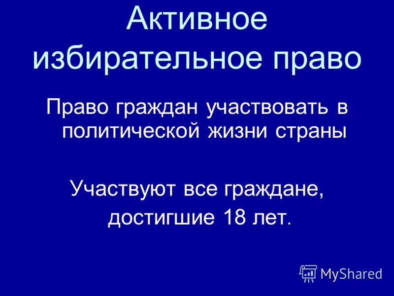 Активное избирательное право Право граждан участвовать в политической жизни страны Участвуют все граждане, достигшие 18 лет.
