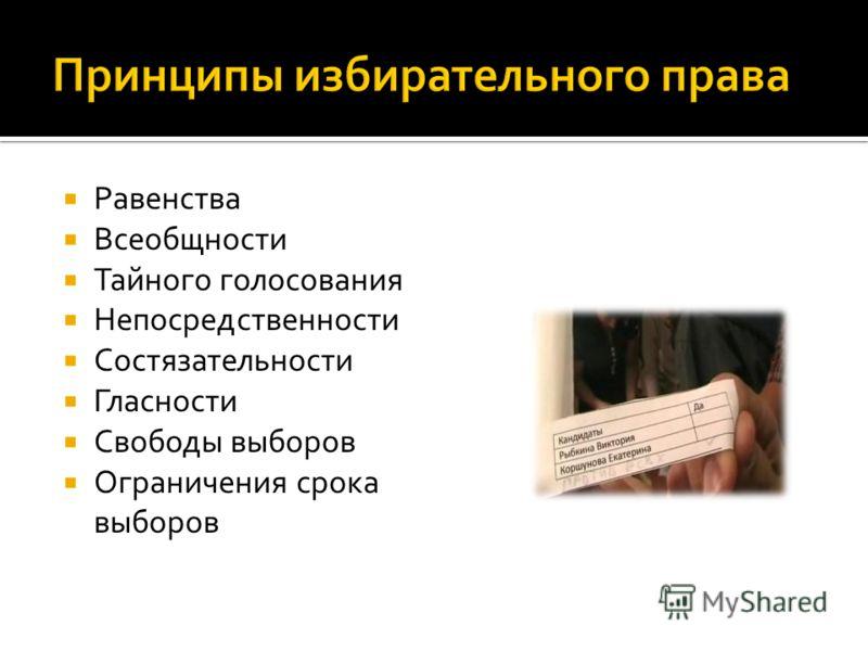 Равенства Всеобщности Тайного голосования Непосредственности Состязательности Гласности Свободы выборов Ограничения срока выборов