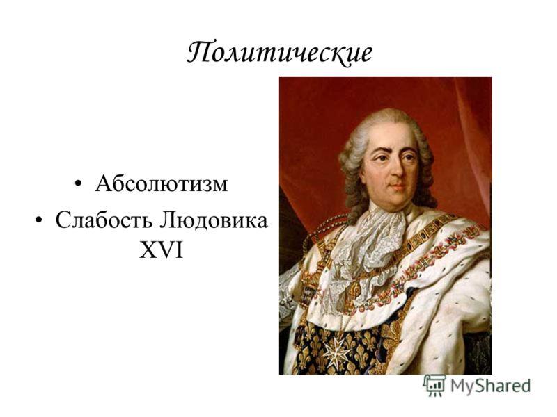 Политические Абсолютизм Слабость Людовика XVI