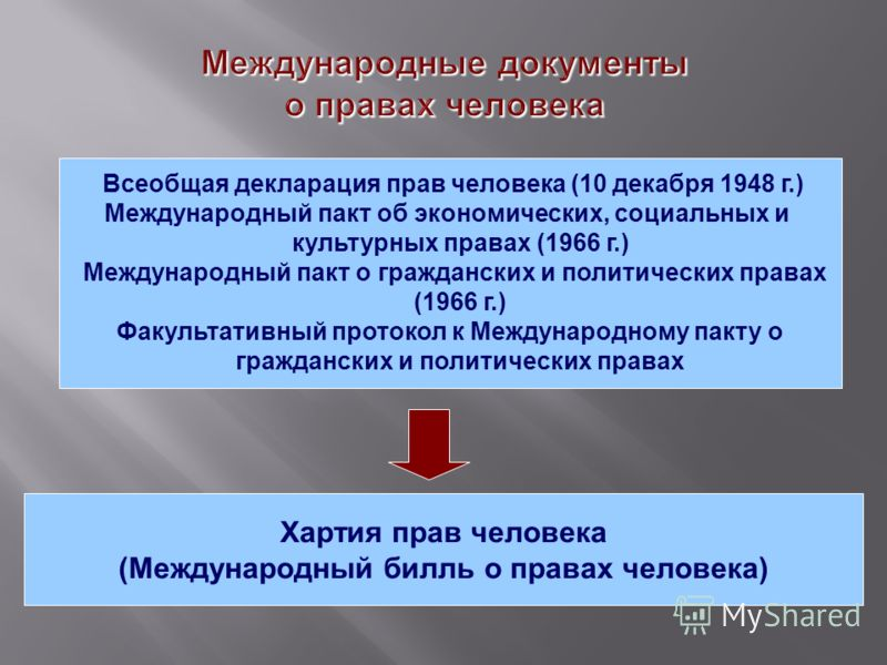 Всеобщая декларация прав человека (10 декабря 1948 г.) Международный пакт об экономических, социальных и культурных правах (1966 г.) Международный пакт о гражданских и политических правах (1966 г.) Факультативный протокол к Международному пакту о гра
