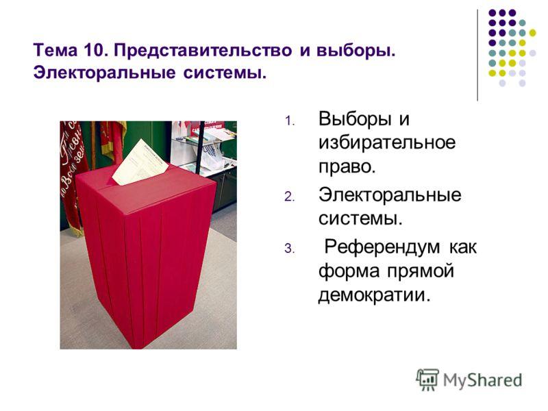 Тема 10. Представительство и выборы. Электоральные системы. 1. Выборы и избирательное право. 2. Электоральные системы. 3. Референдум как форма прямой демократии.