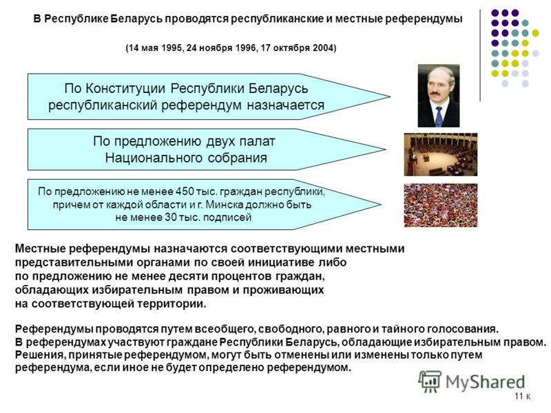 В Республике Беларусь проводятся республиканские и местные референдумы (14 мая 1995, 24 ноября 1996, 17 октября 2004) По Конституции Республики Беларусь республиканский референдум назначается По предложению двух палат Национального собрания По предло