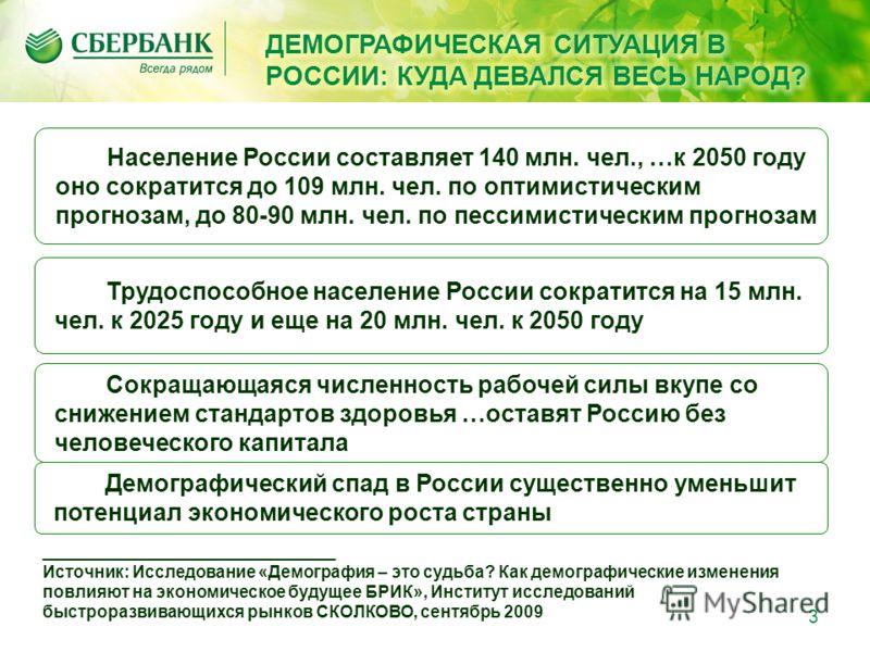 Сокращающаяся численность рабочей силы вкупе со снижением стандартов здоровья …оставят Россию без человеческого капитала Население России составляет 140 млн. чел., …к 2050 году оно сократится до 109 млн. чел. по оптимистическим прогнозам, до 80-90 мл